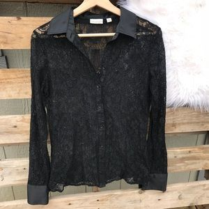 Eva Mendes Black Lace Long Sleeve Top Size Small